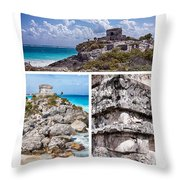 Tulum, Mexico Collage Throw Pillow