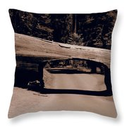 Tunnel Log - Sequoia National Park Throw Pillow