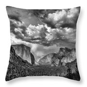 Tunnel View In Black And White Throw Pillow