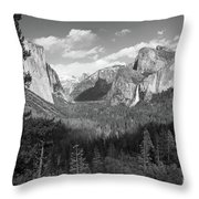 Tunnel View Shadow Bw Throw Pillow