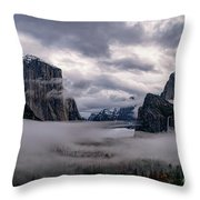 Tunnel View Storm Clouds Throw Pillow