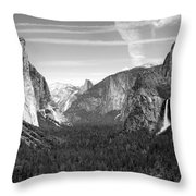 Tunnel View Yosemite B And W Throw Pillow