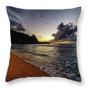 Tunnels Beach Sunset Throw Pillow