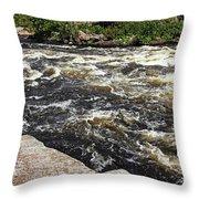 Turbulent Dalles Rapids Throw Pillow