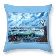 Turbulent Sea Throw Pillow