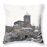 Tures Castle In The Snow Throw Pillow