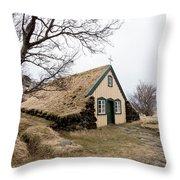 Turf Church At Hof In Iceland Throw Pillow