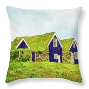 Turf Huts In Skaftafell Throw Pillow