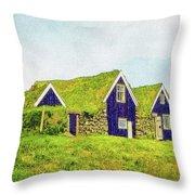 Turf Huts In Skaftafell Throw Pillow