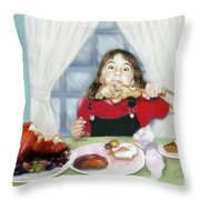 Turkey Girl Throw Pillow