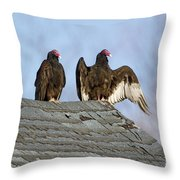 Turkey Vultures On Roof Throw Pillow