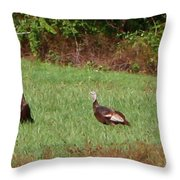 Turkeys At Lunch Throw Pillow