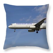 Turkish Delight Airlines Airbus A321 Throw Pillow