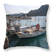 Turkish Fishing Boats Moored At Bozburun Throw Pillow