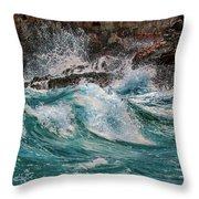 Turmoil In Blue Throw Pillow
