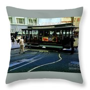 Turnaround At Powell And Mason Streets, April 6 1961 Throw Pillow