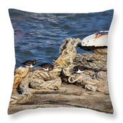 Turnstones At The Harbour Throw Pillow