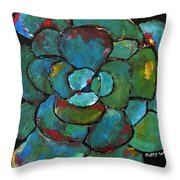 Turquoise Agave Throw Pillow