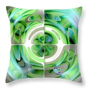 Turquoise And Green Abstract Collage Throw Pillow
