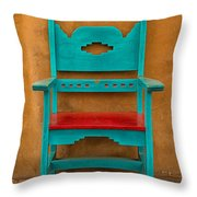 Turquoise And Red Chair Throw Pillow