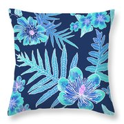 Turquoise Batik - Laua'e 12 Throw Pillow