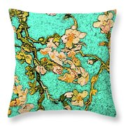 Turquoise Blossom Throw Pillow