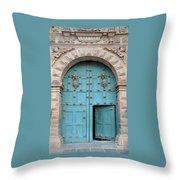 Turquoise Cusco Church Door Throw Pillow