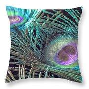 Turquoise Feather Throw Pillow