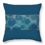Turquoise Flora Throw Pillow