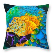 Turquoise Gold Macaw  Throw Pillow by Daniel Jean-Baptiste