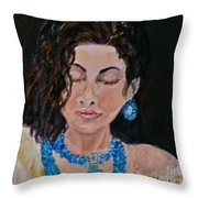 Turquoise Lady 1 Throw Pillow