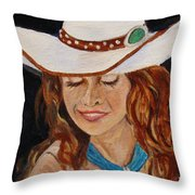 Turquoise Lady 2 Throw Pillow
