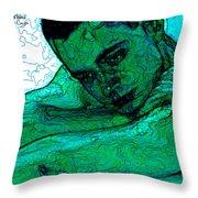 Turquoise Man Throw Pillow