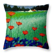 Turquoise Meadow Throw Pillow