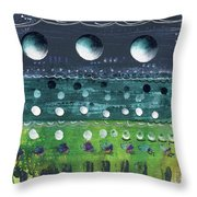 Turquoise Moons Throw Pillow