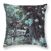 Turquoise Muted Garden Respite Throw Pillow