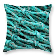 Turquoise Nets Throw Pillow