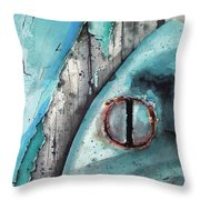 Turquoise Paint Throw Pillow