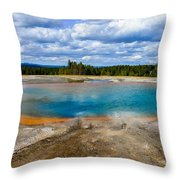 Turquoise Pool, Yellowstone Throw Pillow