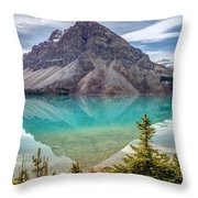 Turquoise Reflection At Bow Lake Throw Pillow
