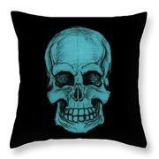 Turquoise Skull Throw Pillow