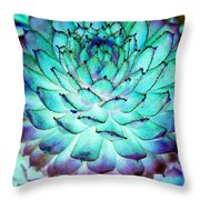 Turquoise Succulent 1 Throw Pillow