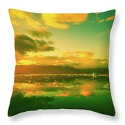 Turquoise Sunrise Throw Pillow
