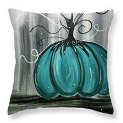 Turquoise Teal Surreal Pumpkin Throw Pillow