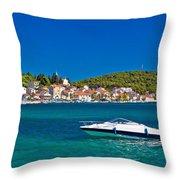 Turquoise Waterfront Of Rogoznica Tourist Destination Throw Pillow
