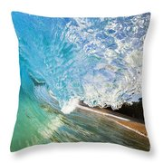 Turquoise Wave Tube Throw Pillow