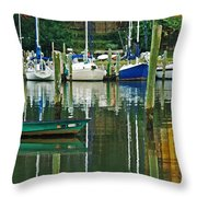 Turquoise Workboat In The Colorful Harbor Throw Pillow