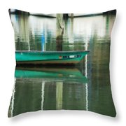Turquoise Workboat On The Calm Harbor Throw Pillow