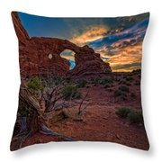 Turret Arch At Sunset Throw Pillow