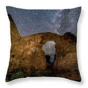 Turret Arch Milkyway, Arches National Park, Utah Throw Pillow
